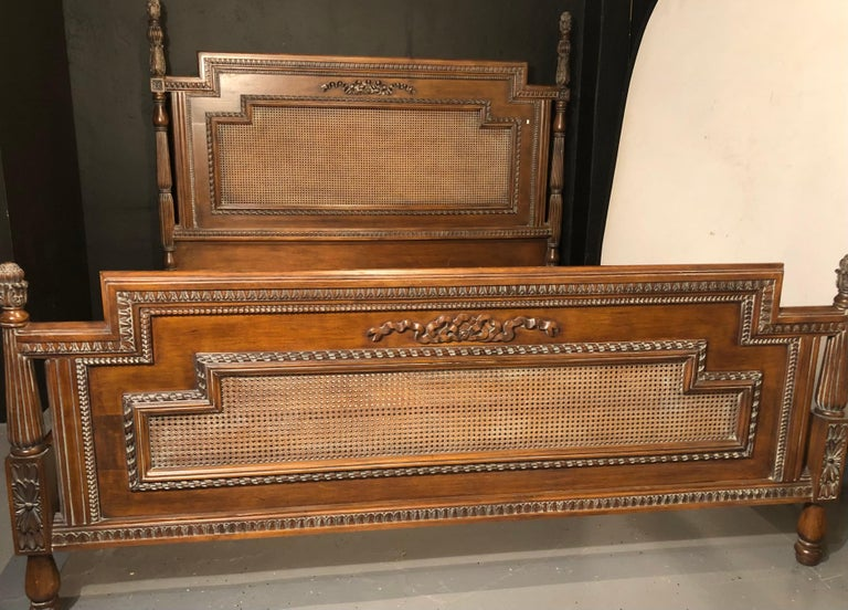 Antique Walnut Carved King Sized Bed, Headboard, Foot-Board and Side-Rails In Good Condition In Stamford, CT