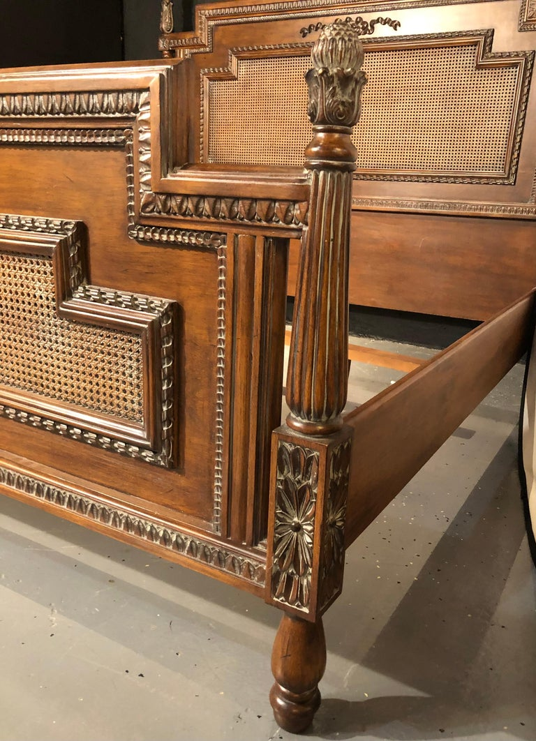Antique Walnut Carved King Sized Bed, Headboard, Foot-Board and Side-Rails 1