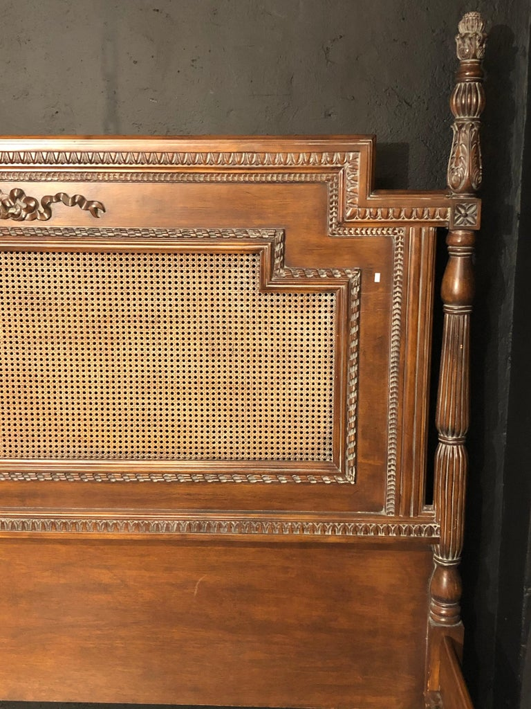 Antique Walnut Carved King Sized Bed, Headboard, Foot-Board and Side-Rails 2