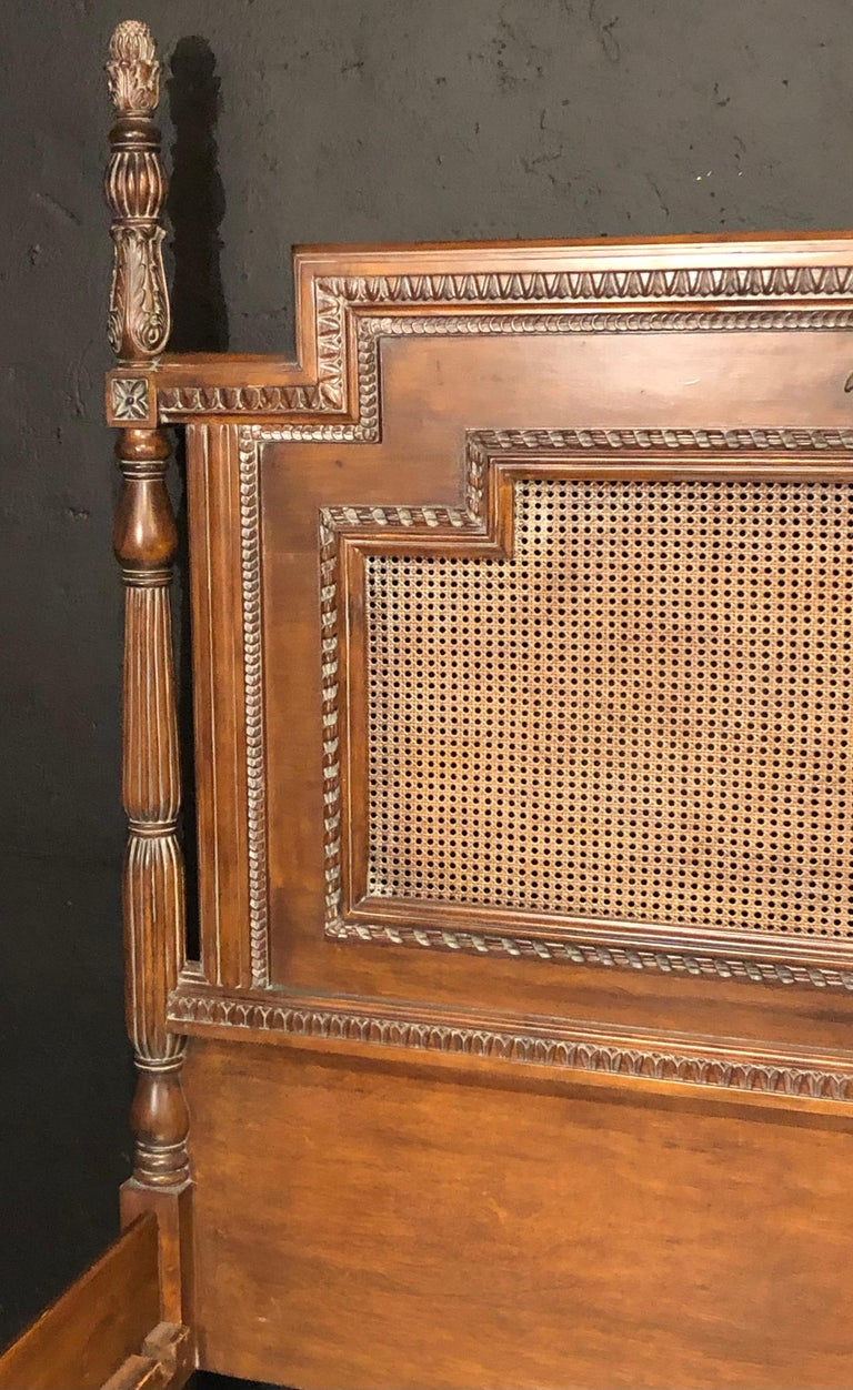 Wood Antique Walnut Carved King Sized Bed, Headboard, Foot-Board and Side-Rails