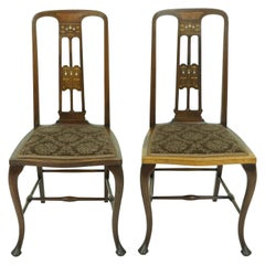 Antique Walnut Chairs, Pair of Art Nouveau Inlaid Seats, Scotland 1910, B1887