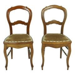 Antique Walnut Chairs, Pair of Victorian Bedroom Chairs, Scotland 1890