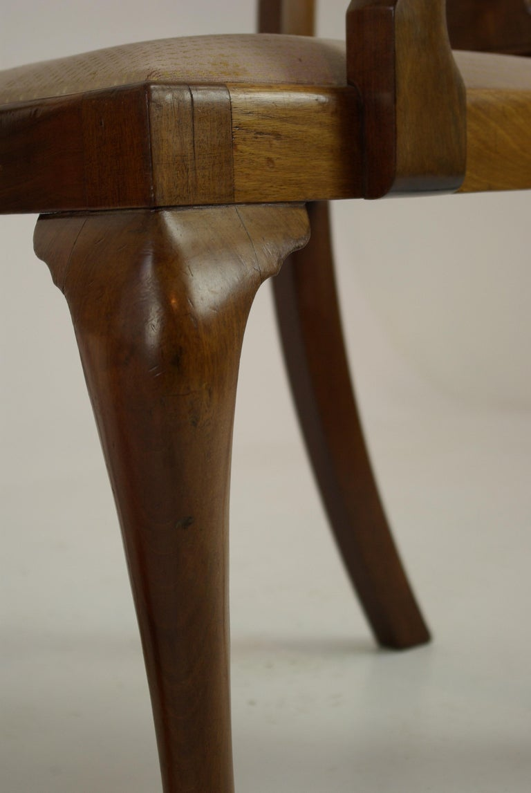 Antique Walnut Chairs, Queen Anne Chairs, 7 Dining Chairs, Scotland 1920, B1196 For Sale 4