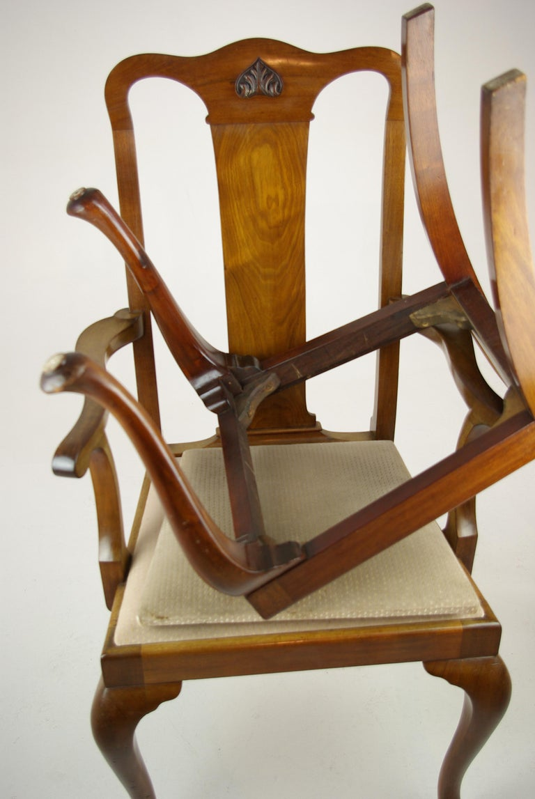 Antique Walnut Chairs, Queen Anne Chairs, 7 Dining Chairs, Scotland 1920, B1196 For Sale 7