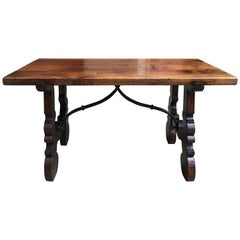 Antique Walnut Coffee Table Bench Catalan Spanish Iron Farm Country