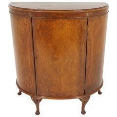 Antique Walnut Demilune Drink Cabinet, Bar Cabinet, Scotland 1930, B1954