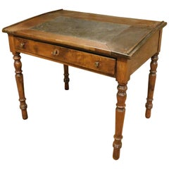 Antique Walnut Desk, Black Leather Top and Drawer, 19th Century, Italy
