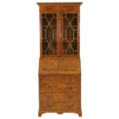 Antique Walnut Desk, Bookcase Top Slant Front Desk, Scotland 1950, B1770
