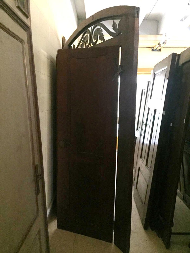 Antique Walnut double Door , original frame and iron, '700 Italy For Sale 5