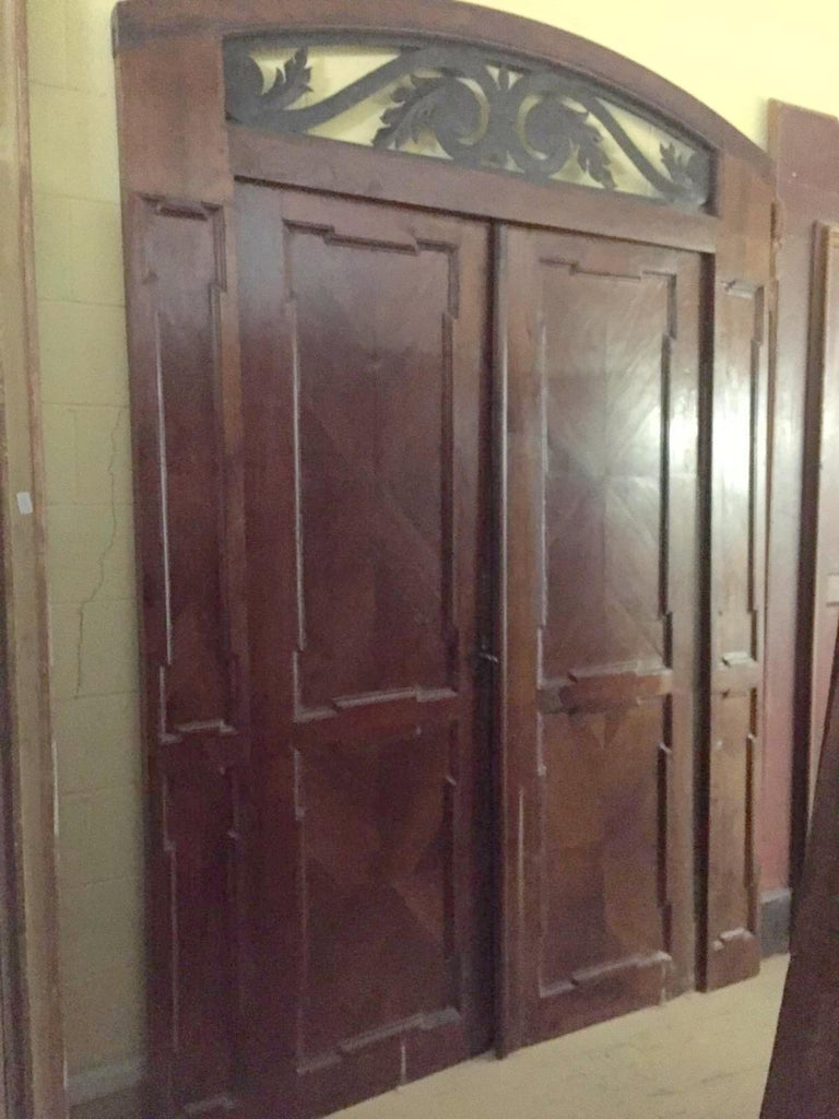 Italian Antique Walnut double Door , original frame and iron, '700 Italy For Sale
