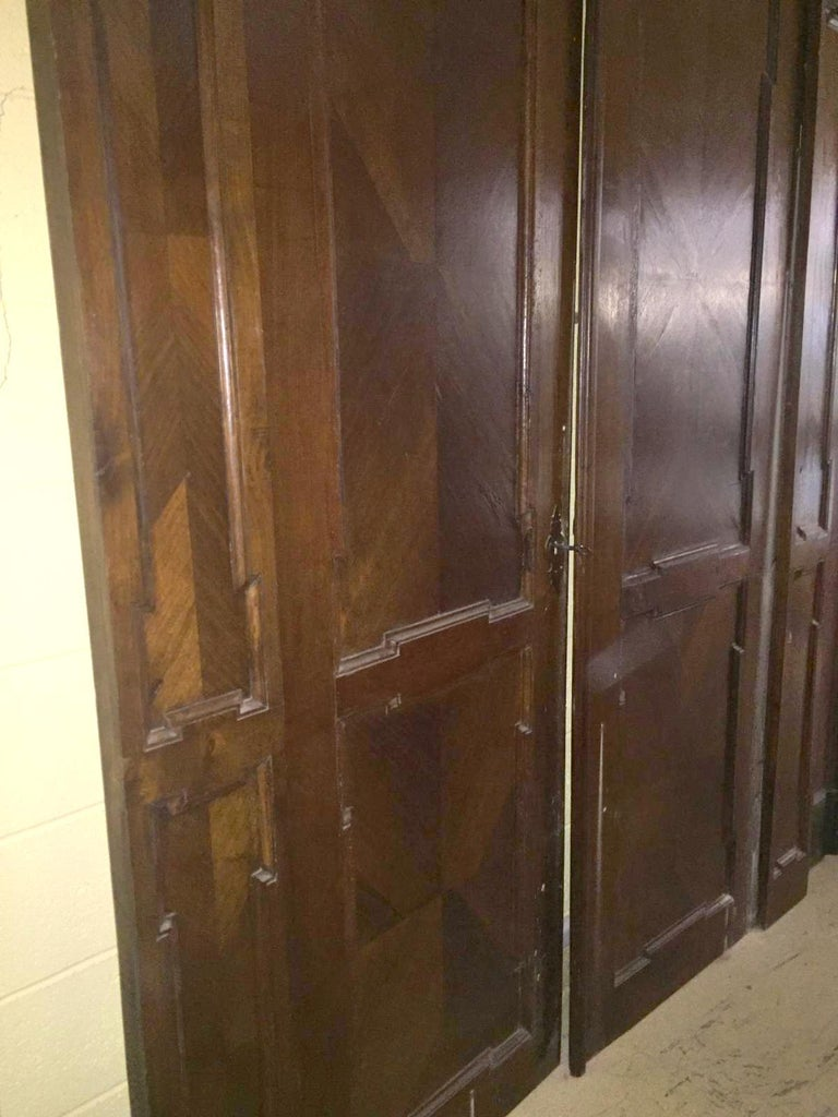 Wood Antique Walnut double Door , original frame and iron, '700 Italy For Sale