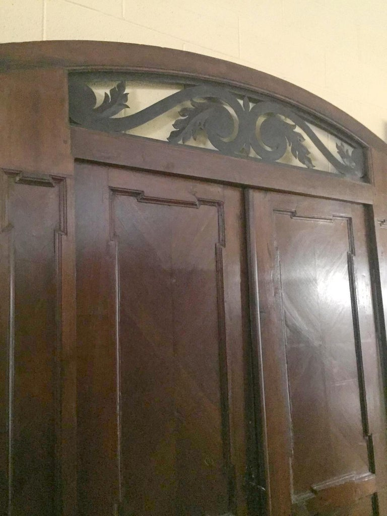 Antique Walnut double Door , original frame and iron, '700 Italy For Sale 1