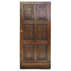 Antique Walnut Door with Six Carved Panels, 18th Century, Italy