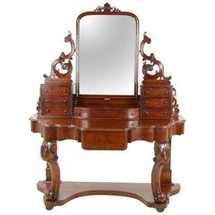Antique Walnut Dresser, Carved Vanity, Duchess Dressing Table, 1870