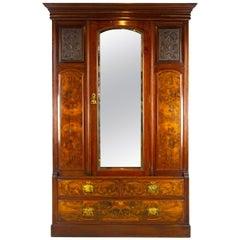 Antique Walnut Dresser, Victorian Carved Armoire/Wardrobe, Scotland 1880, B1386