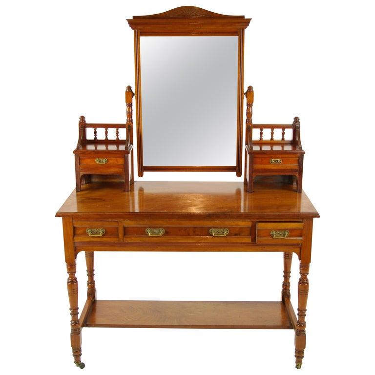 Antique Walnut Dresser Vintage Dresser Make Up Table