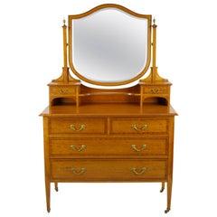 Antique Walnut Dresser, Vintage Walnut Vanity, Scotland, 1900  REDUCED!!!!