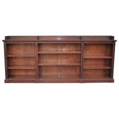 Antique Walnut English Breakfront Open Bookcase or Shelves
