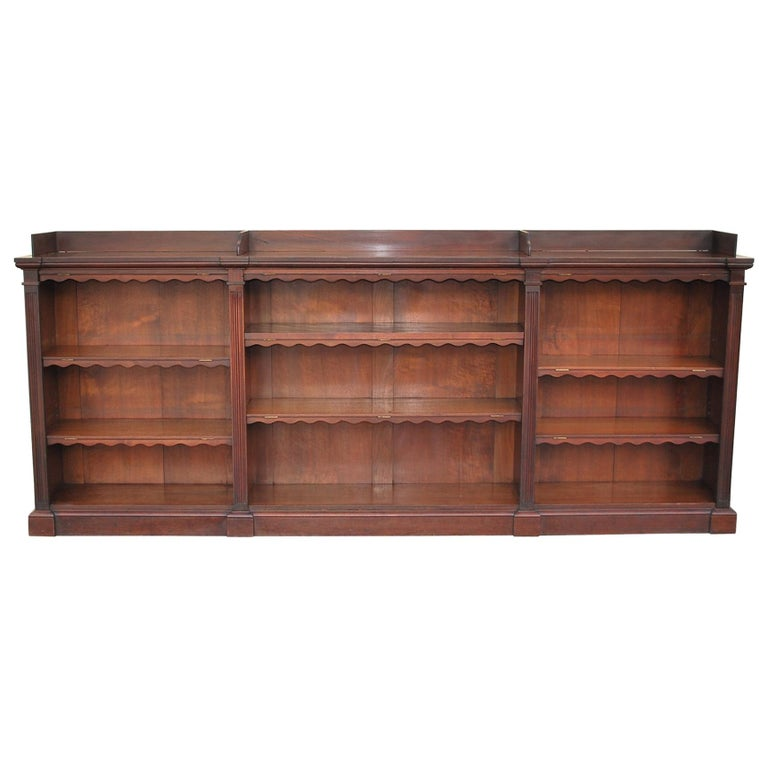 Antique Walnut English Breakfront Open Bookcase Or Shelves Im