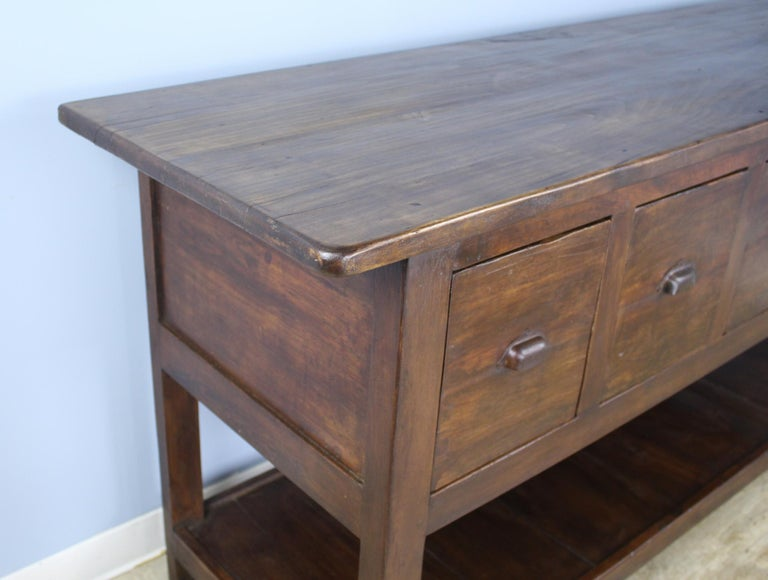 French Antique Walnut Five Drawer Potboard Server or Counter For Sale