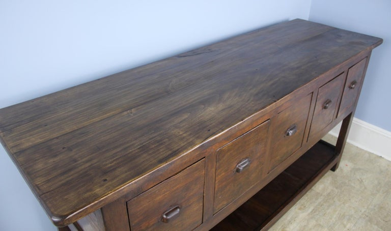 Antique Walnut Five Drawer Potboard Server or Counter In Good Condition For Sale In Port Chester, NY