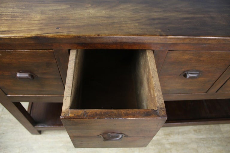 19th Century Antique Walnut Five Drawer Potboard Server or Counter For Sale