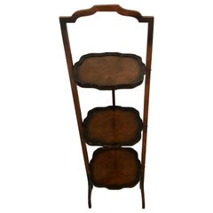Antique Walnut Folding 3-Tier Cake Stand