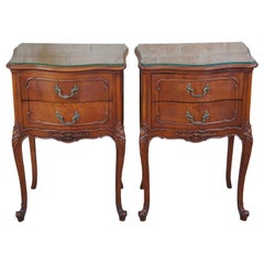 Antique Walnut French Provincial Louis XV Serpentine Nightstands Side End Tables