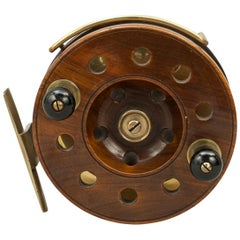 Antique Walnut Frogback Sea Fishing Reel with Brass Fittings