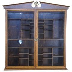 Antique Walnut George III Open Pediment Wall Curio Cabinet Federal Eagle Shelf