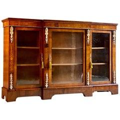 Antique Walnut Inlaid Breakfront Bookcase Cabinet Napoleon III, circa 1870