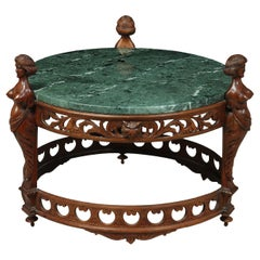 Antique Walnut Italian Carved Coffee Table with Marble Top, circa 1880