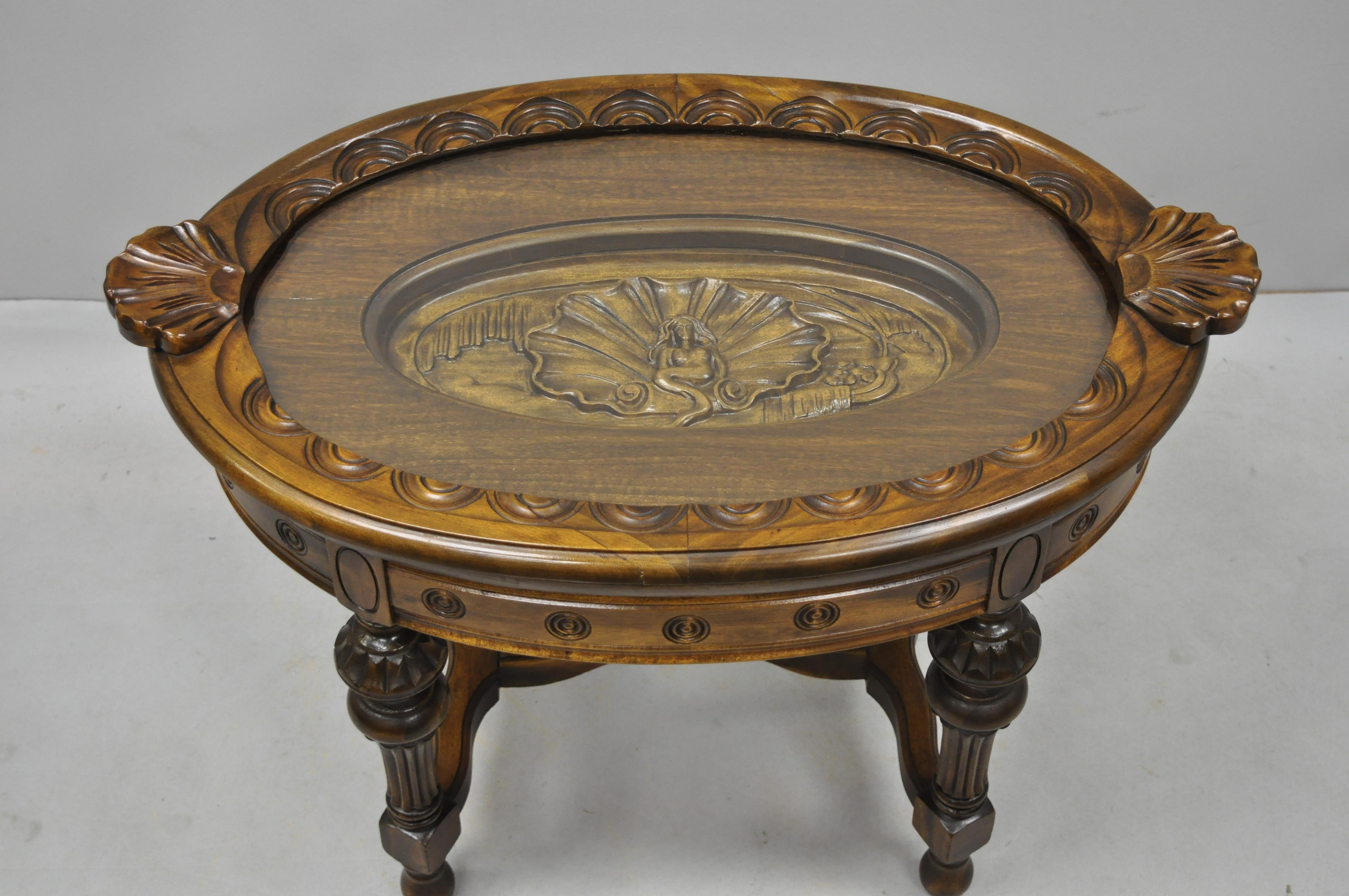 Antique walnut jacobean style small coffee display table shell and