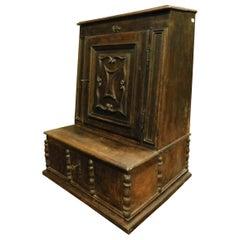 Antique Walnut Kneeler Pray-God Cabinet, 17th Century, Italy