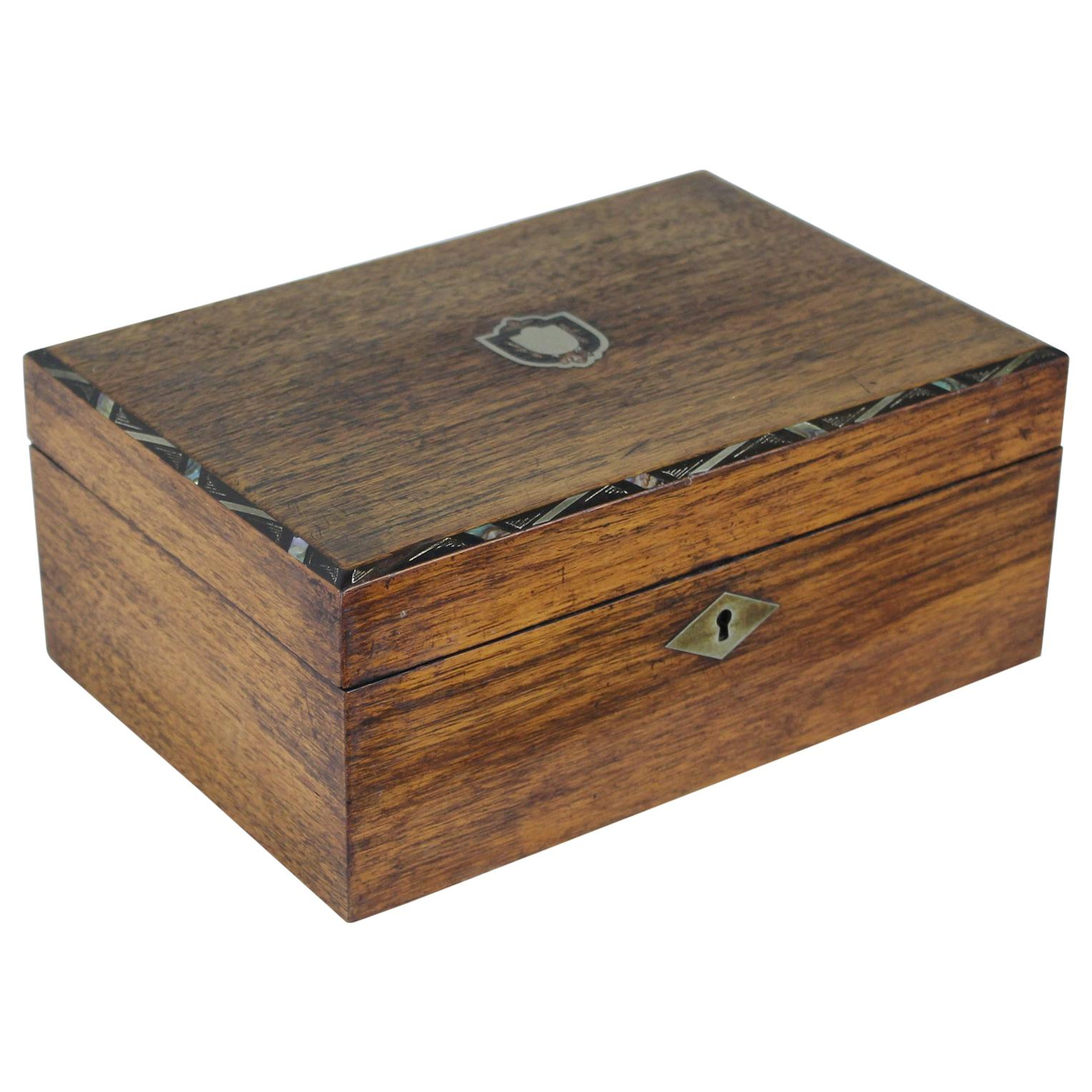 Antique Walnut Ladies Sewing Box, Mother of Pearl Inlay