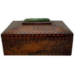 Antique Walnut Needlework Box with Inlaid Satinwood and Ebony Roping