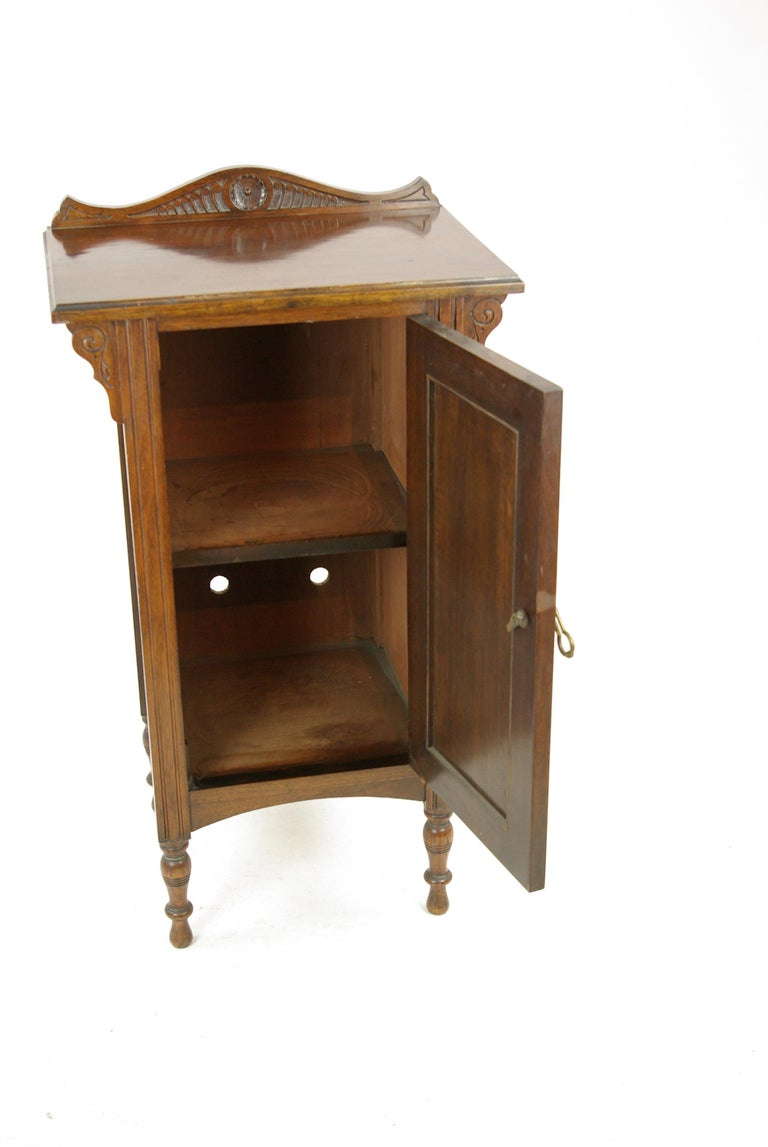 Old Bedside Table: Antique Walnut Night Stand, Tall Bedside Lamp Table