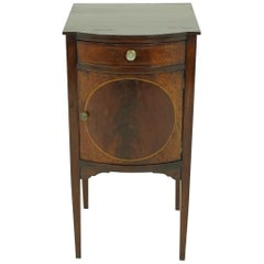 Antique Walnut Nightstand, Edwardian Inlaid Lamp Table, Scotland 1910, B1844