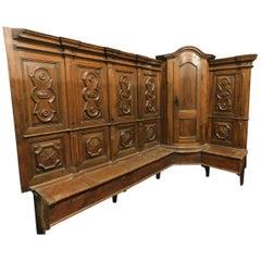 Antique walnut Sacristy choir, seats & corner cupboards,opening seats,'500 Italy