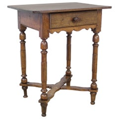 Antique Walnut Side Table with Shaped Stretchers