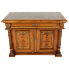 Antique Walnut Sideboard, Carved, Marble Top, Buffet, Server, France, 1890