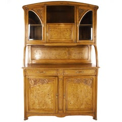 Antique Walnut Sideboard, French Art Nouveau Cabinet, France 1900, B1511