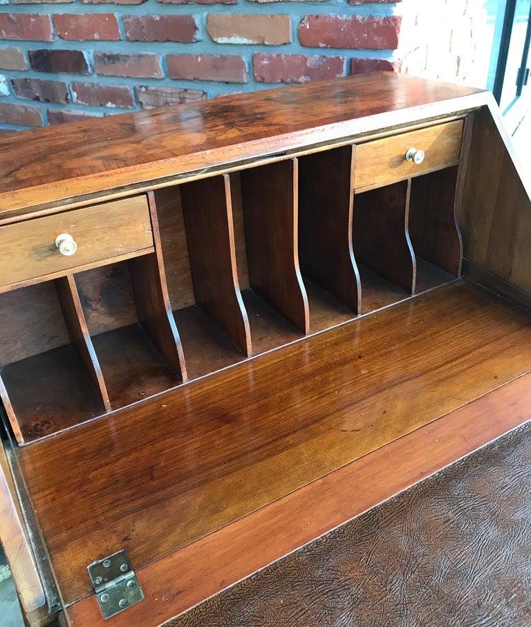 Wood Antique Walnut Slant Front Queen Anne Style Secretary Desk For Sale