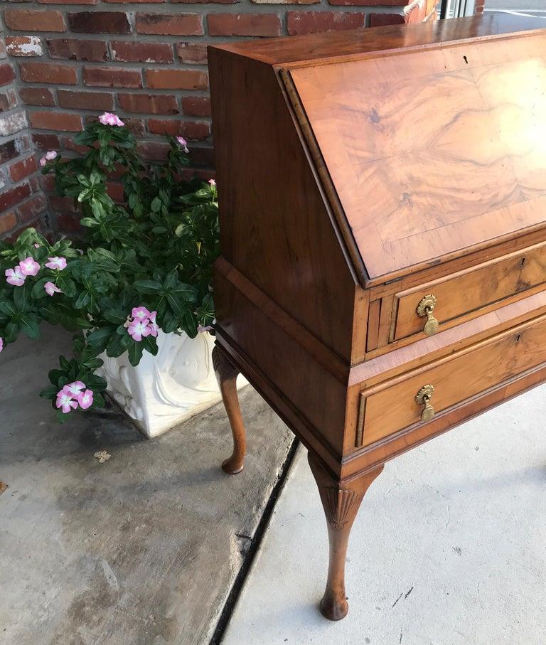 Antique Walnut Slant Front Queen Anne Style Secretary Desk For Sale 2