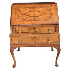 Antique Walnut Slant Front Queen Anne Style Secretary Desk