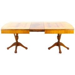 Antique Walnut Table, Art Nouveau Double Pedestal Table, France, 1900