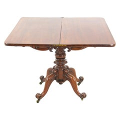 Antique Walnut Table, Victorian Fold Over Tea Table, Scotland 1880, B1503