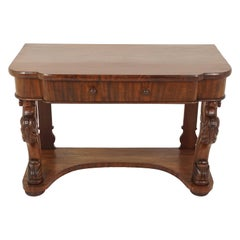 Antique Walnut Table, Victorian Serpentine Front Console, Scotland 1880, B1804