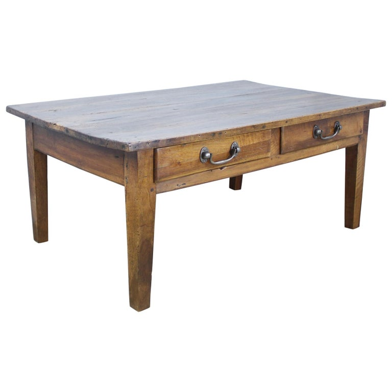 Coffee Table With Drawers Sale: Antique Walnut Two-Drawer Coffee Table For Sale At 1stdibs
