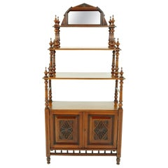 Antique Walnut Whatnot, Victorian 4-Tier Display Cabinet, Scotland, 1880